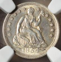 1854 Seated Liberty Half Dime UNC Details NGC