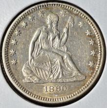 1860-O Seated Liberty Quarter