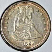 1891-S Seated Liberty Quarter