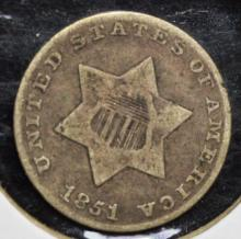 1851 Silver 3 Cent Piece