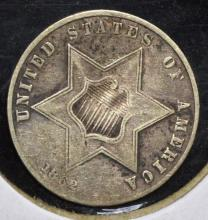 1862 Silver Three Cent Piece