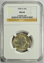1944-S Washington Quarter MS-64 NGC