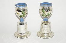 Pair of Painted Mercury Glass Pedestaled Urns