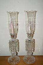 Pair of American Pressed Glass Candle Lamps