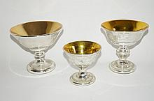 Three(3) Mercury Glass Compotes