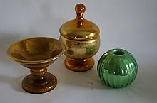 Three(3) Colored Mercury Glass Pieces