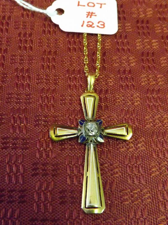 Vintage 18k Diamond Cross w/18k Chain (Approx. 1/3+ Carat Diamond) (5.6 Dwt TW)
