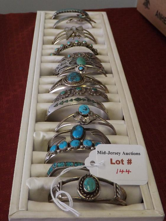 Sterling Silver Bangle Bracelet Collection (Turquoise, Onyx, Etc.)(7.94 Oz)