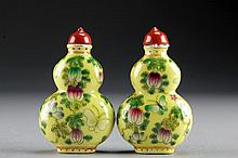 (2) Chinese Famille Rose Porcelain Snuff Bottles