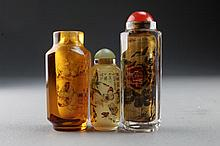(3) Chinese Reverse Painted Glass Snuff Bottles