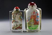 (2) Chinese Reverse Painted Glass Snuff Bottles