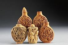 (5) Chinese Molded Snuff Bottles