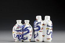 (2) Chinese Famille Rose Porcelain Double Snuff Bottles
