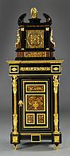 A Gilt Bronze & Ebony Wood Cabinet & Matching Clock