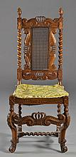 An Italian Carved Oak & Cane Side Chair