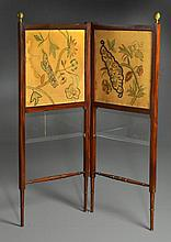 19th C. Embroidered Silk and Walnut Two Panel Screen