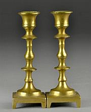 Pr Antique American or Continental Brass Candlesticks