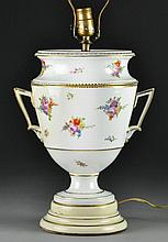 Continental Hand Painted Urn Form Porcelain Lamp
