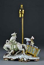 Antique German Porcelain and Gilt Bronze Figural Table Lamp