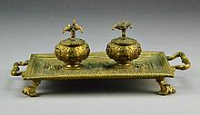 A Neoclaissical Gilt Bronze Double Ink Stand