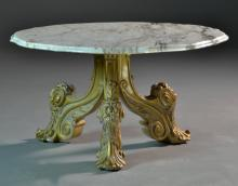 Italian Marble & Gilt Wood Coffee Table
