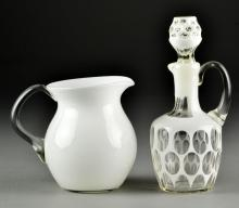 (2) Pcs. Art Glass, Inc. Decanter & Pitcher