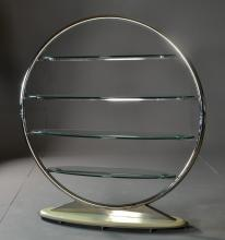 A Contemporary Glass & Chromed Metal Etagere