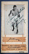 1940s Jack Dempsey Restaurant Menu Signed By Dempsey