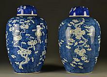 Pr. Chinese Qing Blue & White Porcelain Jars