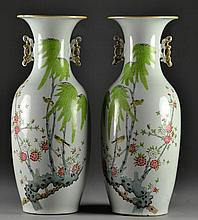 Pr. Large Chinese Famille Rose Porcelain Vases