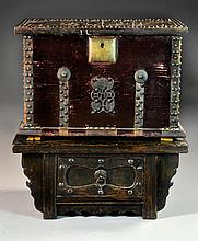 Scarce Chinese Hardwood & Brass Mounted Money Box