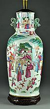 Chinese Qing Famille Rose Porcelain Lamp