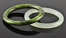 (2) Chinese Carved Jade Bangles