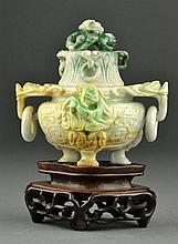 Chinese Qing Carved Jadeite Tripod Censer