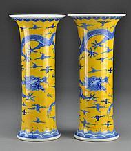 Pr. Chinese Blue & Yellow Porcelain Vases