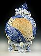 Japanese Blue, White & Peach Porcelain Meiji Censer