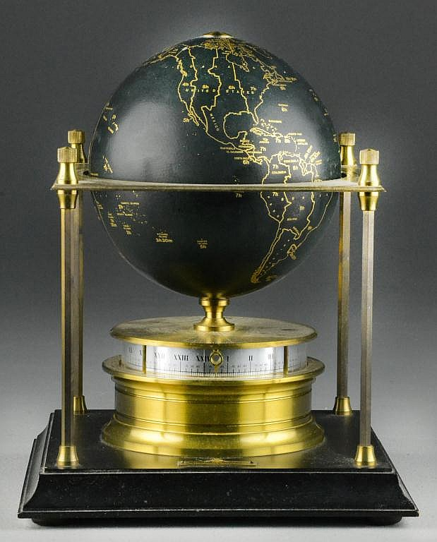 Brass Royal Geographical Society Globe Clock