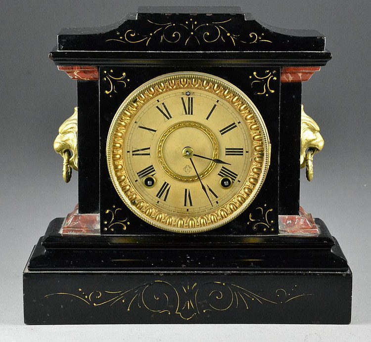 Ansonia Black Metal Case Mantle Clock
