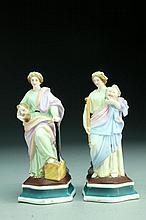 (2) Continental Bisque Porcelain Figural Spill Vases