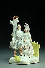 Staffordshire Highlander Couple Porcelain Spill Vase