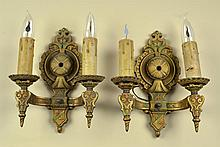 Pr. Lapco Cast Iron and Polychrome Wall Sconces