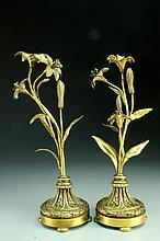 A Pair of Caldwell Gilt Bronze Floral Candle Sticks