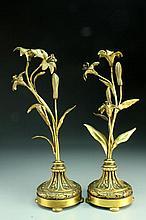 A Pair of Caldwell Gilt Bronze Floral Candle Sticks
