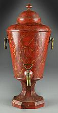 An Antique Painted Tin and Brass Samovar