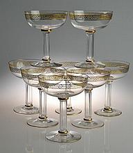 (8) Crystal and Gilt Champange Glasses