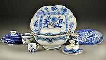 (8) Pcs. Flow Blue & Blue Willow Porcelain Table Articles