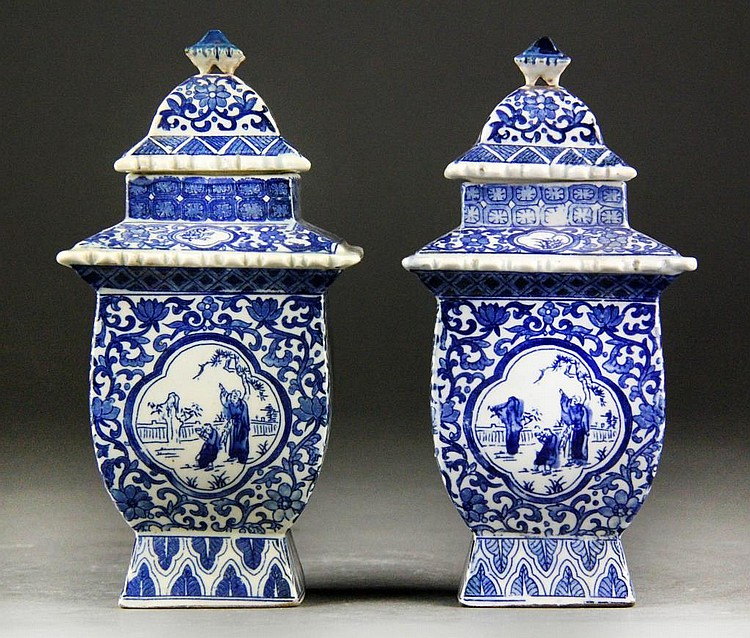 Pair Chinese Blue and White Porcelain Covered Jars