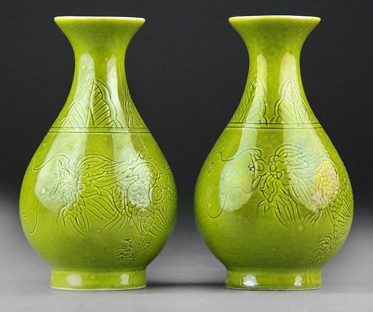 Pair Chinese Lime Green Glazed Vases