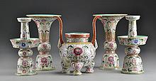 5-Piece Chinese Famille Rose Porcelain Alter Set