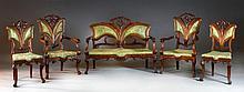 An Art Nouveau (5) Pc Carved Walnut Salon Suite